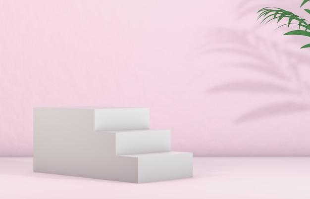 Scale bianche per esposizione di prodotti cosmetici. moda bellezza sfondo di colore rosa.