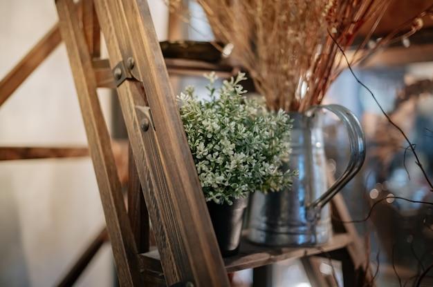 Scale in legno decorate con vasi per piante e oggetti decorativi