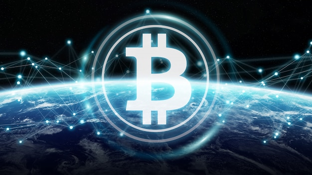 Scambi di bitcoin sul rendering 3d del pianeta terra