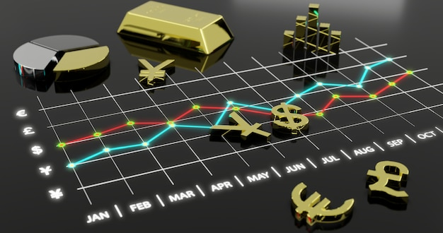 Scambio finanziario del mercato valutario, illustrazione 3d.