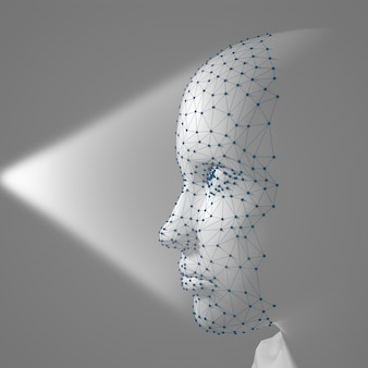 Scansione 3d del sistema di riconoscimento facciale. volto umano costituito da poligoni, punti e linee