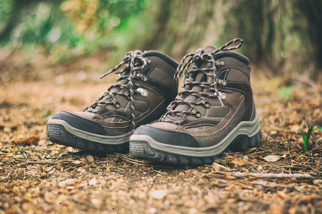Scarpe da trekking marroni in una foresta