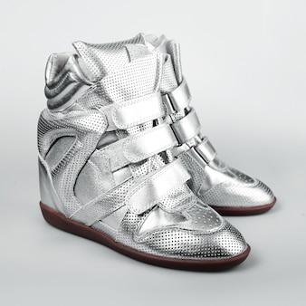 Scarpe italiane argento donna