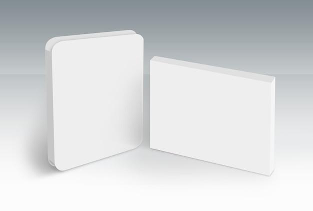 Scatola bianca singola con coperchio su serie di concept di terra