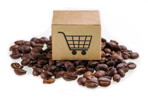Scatola con il simbolo del logo del carrello di acquisto sui chicchi di caffè