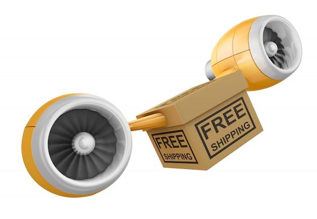 Scatola con la scritta spedizione gratuita e motori aeronautici. rendering 3d