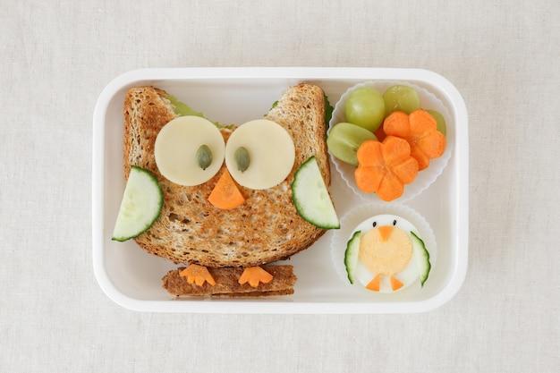 Scatola da pranzo per sandwich sano di gufo, divertente arte culinaria per bambini