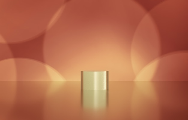 Scatola del cilindro vuota con il fondo del bokeh. esposizione di prodotti cosmetici di lusso rendering 3d.