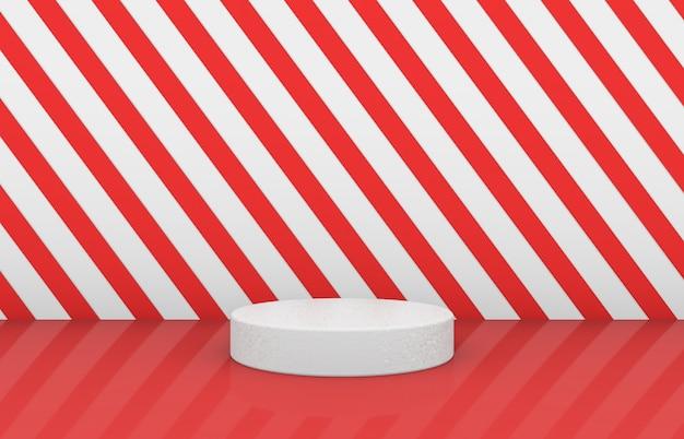 Scatola del cilindro vuota con motivo a strisce rosse sullo sfondo. sfondo di festa di natale 3d.