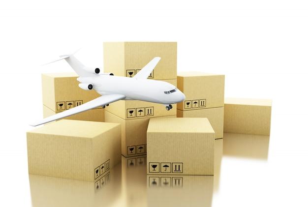 Scatola di cartone 3d e aereo