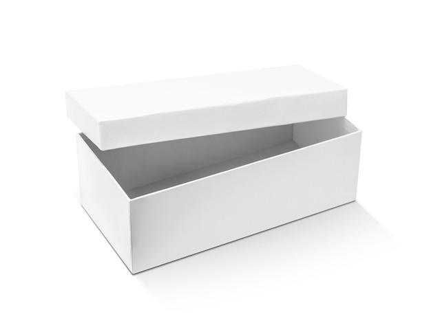 Scatola di cartone bianca laminata aperta