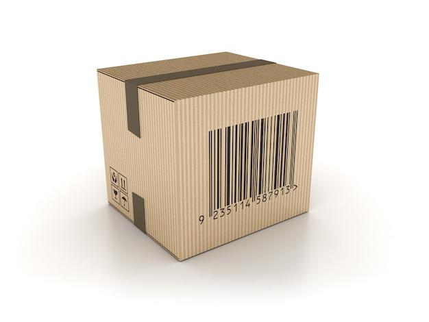 Scatola di cartone con codice a barre