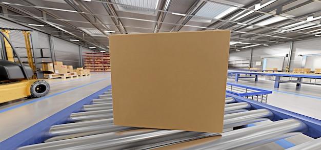Scatola di cartone in un magazzino - rappresentazione 3d