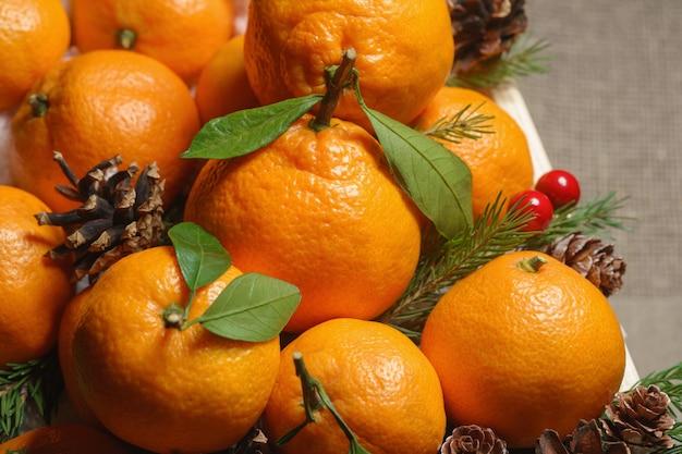 Scatola di legno con arance, rami di abete e pigne