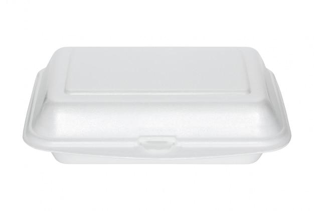 Scatola di polistirolo bianco isolato su bianco con tracciato di ritaglio