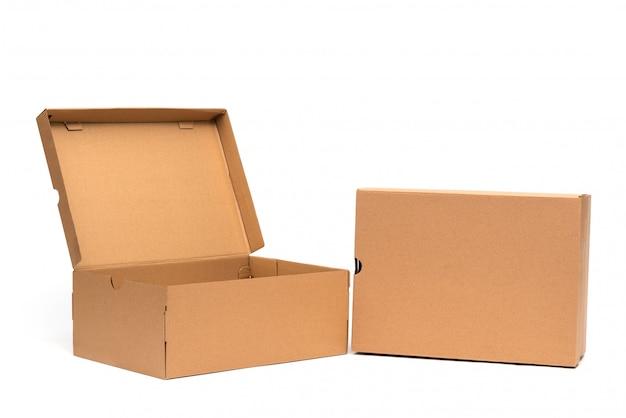 Scatola di scarpe di cartone marrone con coperchio per confezione di scarpe o sneaker