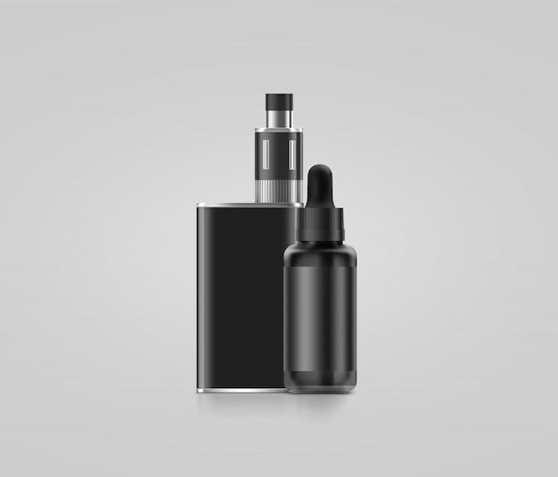 Scatola nera in bianco del mod del vape con la bottiglia del succo isolata