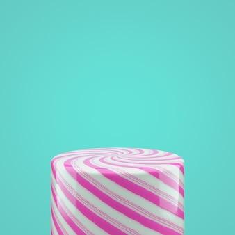 Scatola per bombole di caramelle rosa vuota per la visualizzazione del prodotto. 3d sfondo di natale.