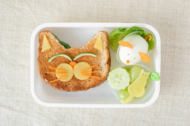 Scatola per il pranzo al gatto e al topo, divertente arte culinaria per bambini