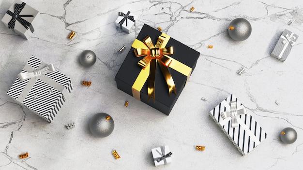 Scatola regalo nera e nastro dorato per anniversari