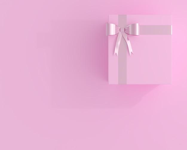 Scatola regalo rosa e copia spazio per il testo. concetto minimo 3d rendering.