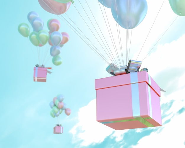 Scatola regalo rosa e palloncini di colore pastello in cielo e copia spazio per il testo.
