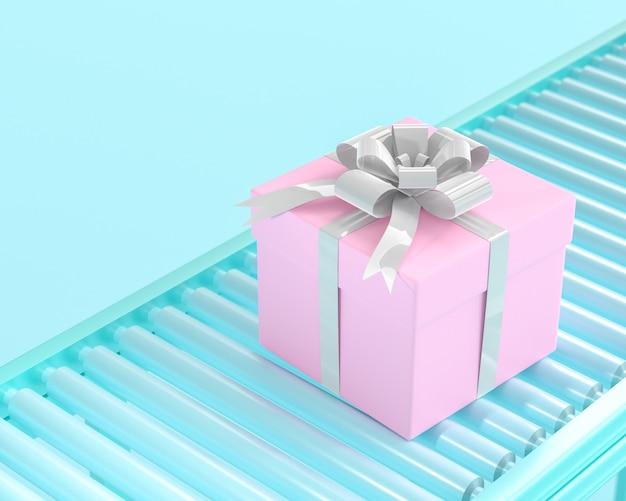 Scatola regalo rosa su rullo trasportatore. il concetto del nuovo anno, 3d rende.