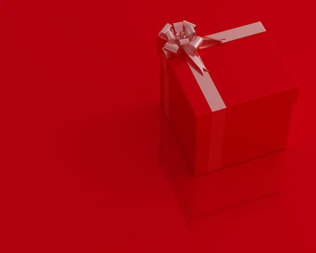 Scatola regalo rosso e copia spazio per il testo. concetto minimo 3d rendering.