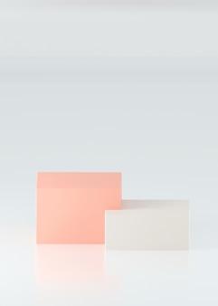 Scatola rosa e bianca, fase del prodotto. rendering 3d