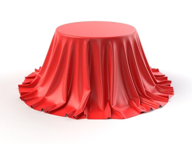 Scatola rotonda rivestita in tessuto rosso