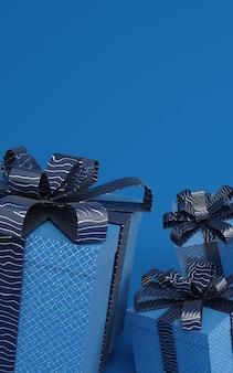 Scatole attuali del blu classico che levitano nell'illustrazione della rappresentazione dell'aria 3d con il nastro del modello. colore alla moda del 2020