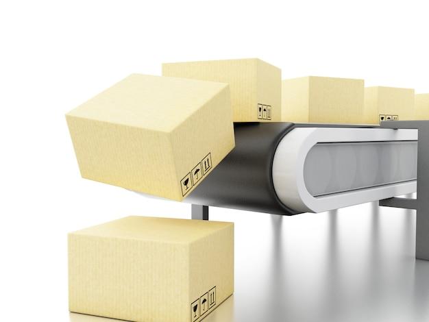 Scatole di cartone 3d sul nastro trasportatore