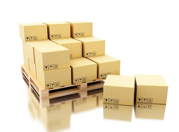 Scatole di cartone di spedizione 3d su pallet