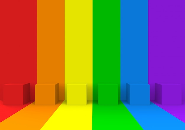 Scatole di cubo arcobaleno lgbt sullo stesso sfondo spazio parete e pavimento dello spazio colore.
