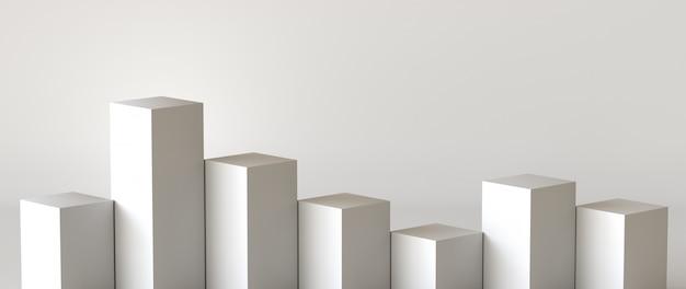 Scatole di cubo bianco con sfondo bianco muro bianco. rendering 3d