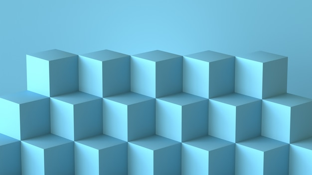 Scatole di cubo blu con sfondo muro bianco. rendering 3d.