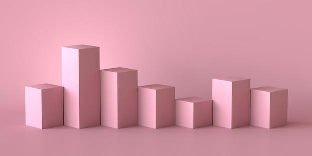 Scatole di cubo rosa con sfondo muro bianco