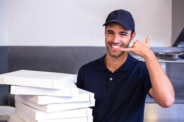 Scatole di trasporto del fattorino della pizza