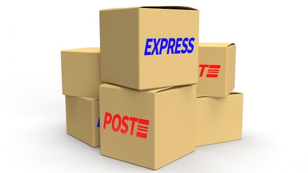 Scatole postali sulla rappresentazione bianca del fondo 3d per il contenuto di consegna.