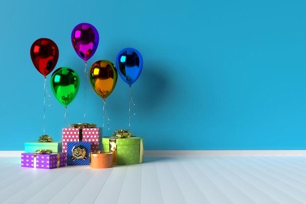 Scatole regalo colorate con palloncini sullo sfondo