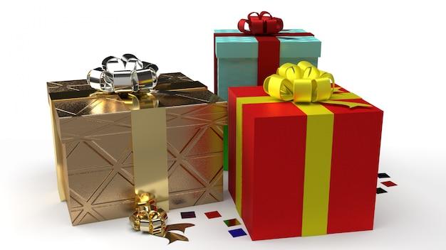 Scatole regalo colorate di natale o compleanno con nastri