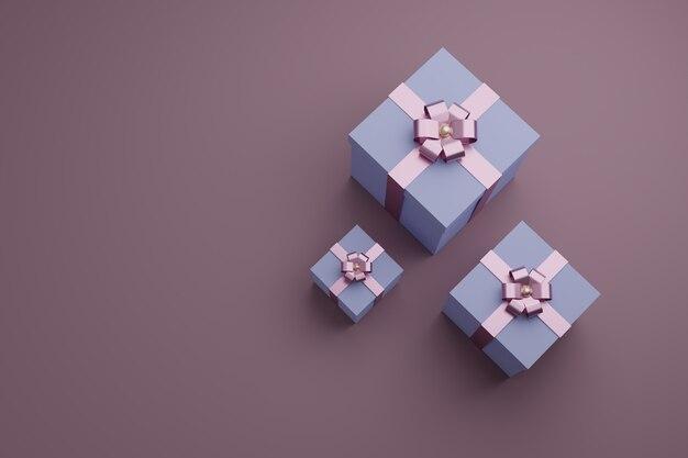 Scatole regalo con nastri lucidi e fiocco. copyspace vista dall'alto