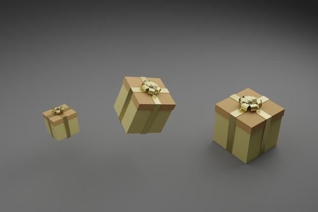 Scatole regalo con nastri lucidi e fiocco. imballaggio festivo, design minimalista