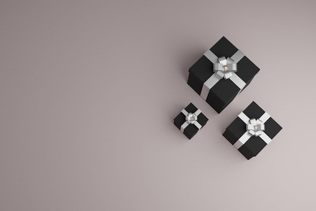Scatole regalo con nastri lucidi e fiocco. vista dall'alto sfondo copyspace
