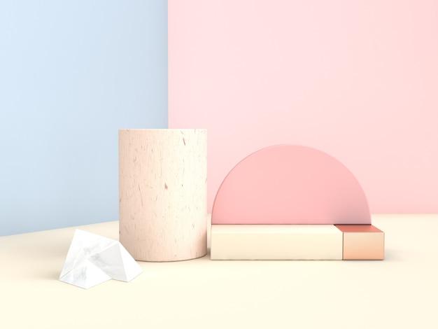 Scena astratta 3d che rende l'insieme geometrico di forma della parete rosa blu