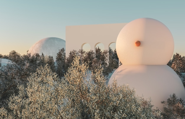 Scena astratta della foresta di inverno. scena delle vacanze di natale