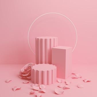 Scena astratta di colore pastello, fondo geometrico rosa del podio di forma, rappresentazione 3d.