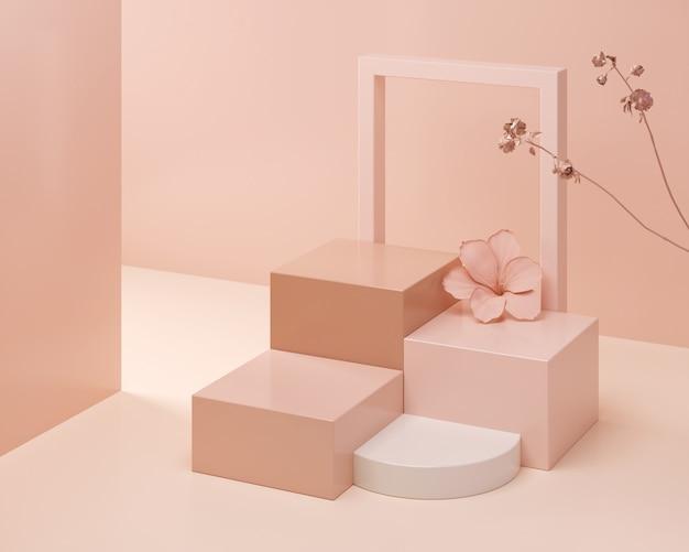 Scena astratta di colore pastello, podio rosa di forma geometrica, rappresentazione 3d.