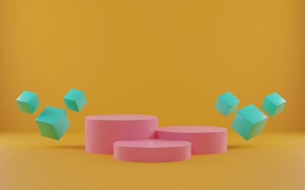 Scena astratta per esposizione del prodotto. podio del cilindro della rappresentazione 3d