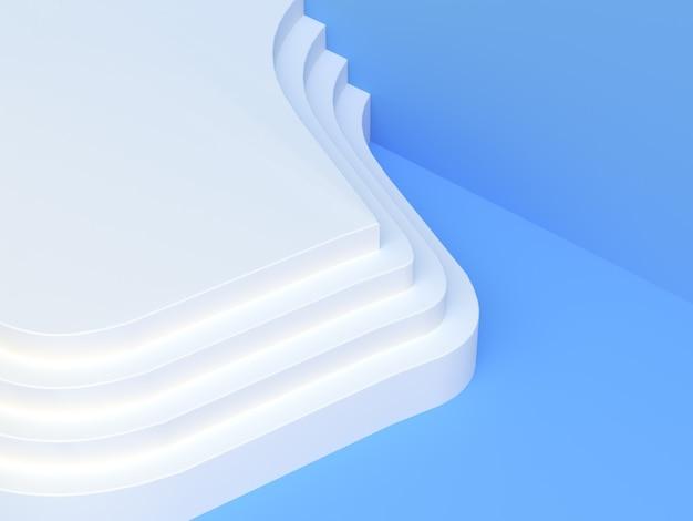 Scena bianca blu 3d che rende a podio in bianco il fondo moderno astratto